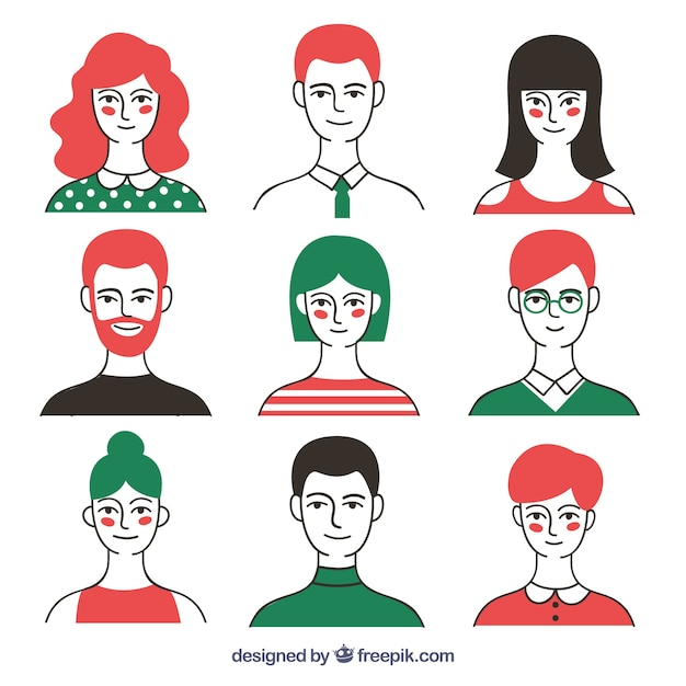 Modern pack of colorful avatars Free Vector