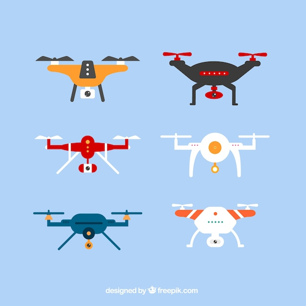 Modern pack of colorful drones
