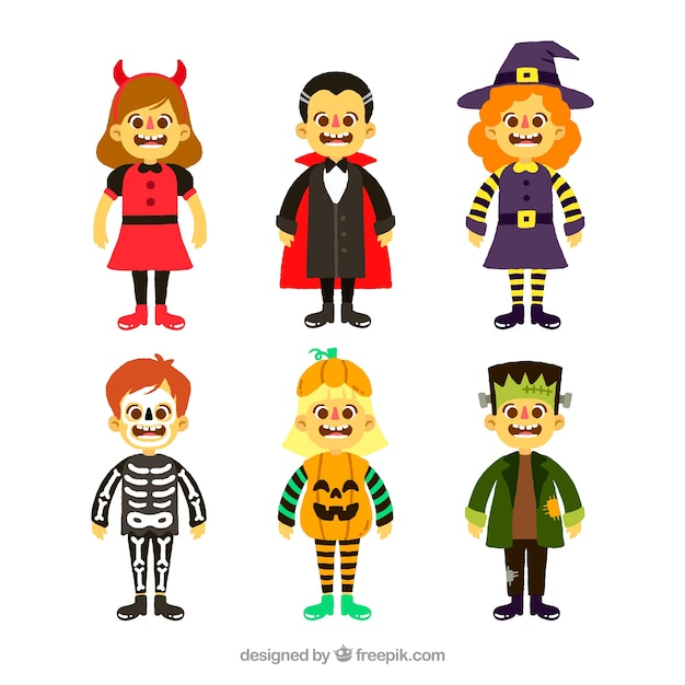 Modern pack of colorful halloween costumes