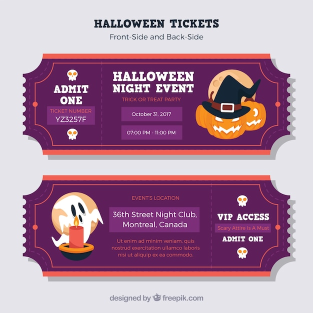 Modern pack of colorful halloween tickets