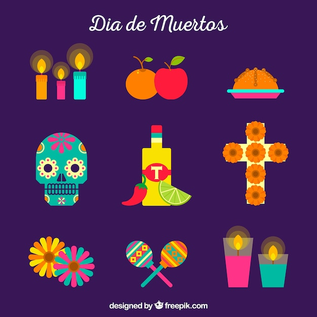 Modern pack of colorful mexican elements