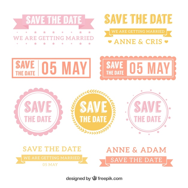 Modern pack of colorful wedding labels