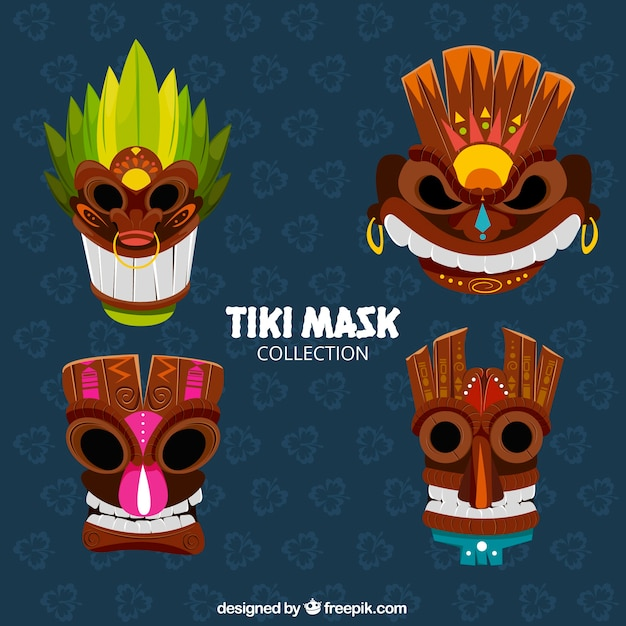 Modern pack of cool tribal masks