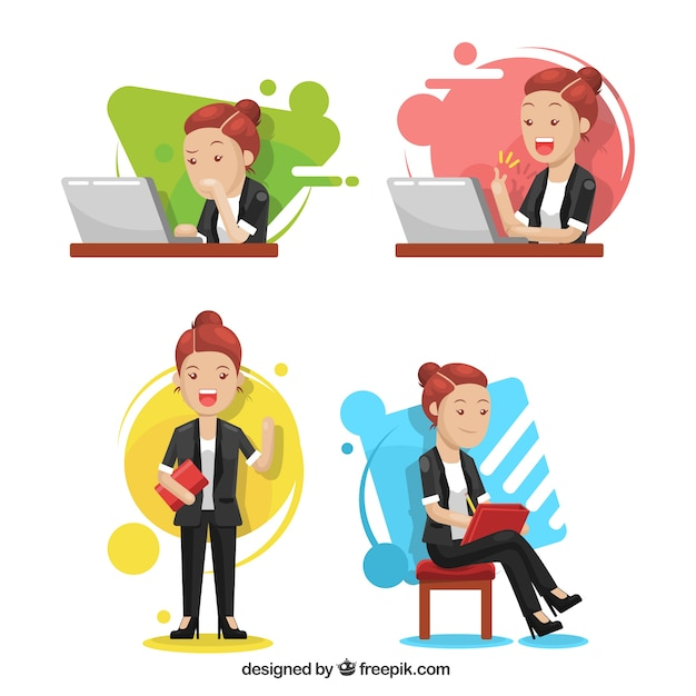 Modern pack of expressive businesswoman character