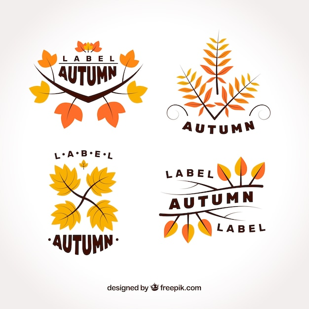 Modern pack of flat autumn labels