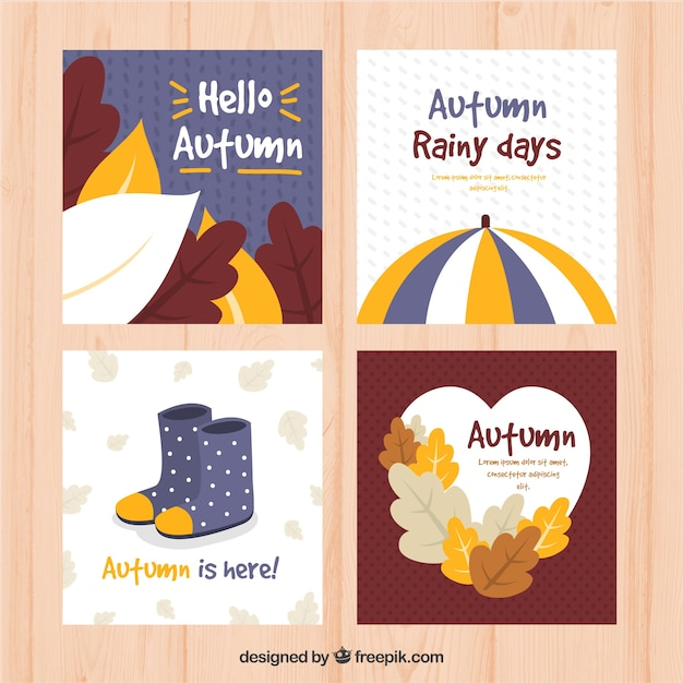 Modern pack of flat autumnal cards