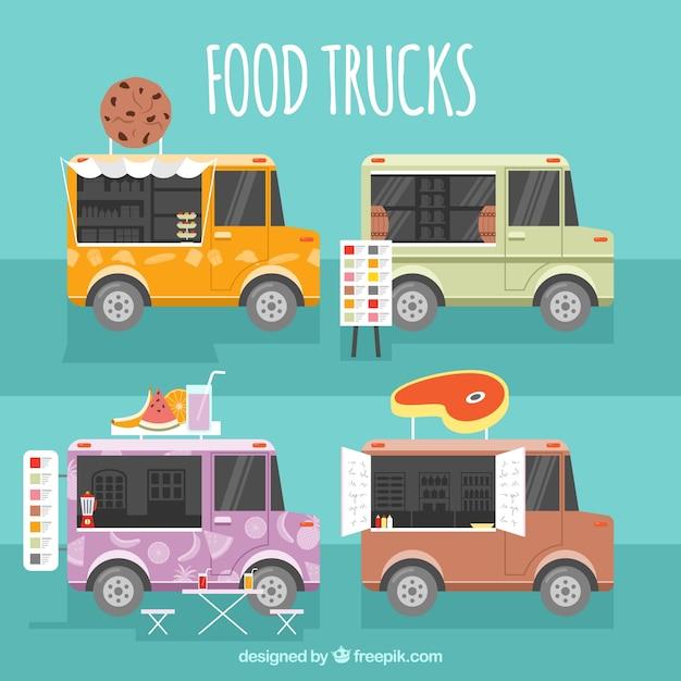 Modern pack of flat food trucks