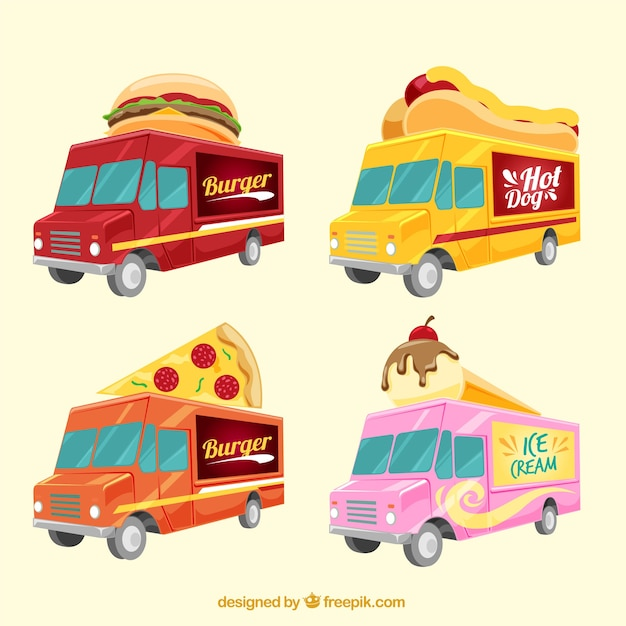 Modern pack of flat food trucks