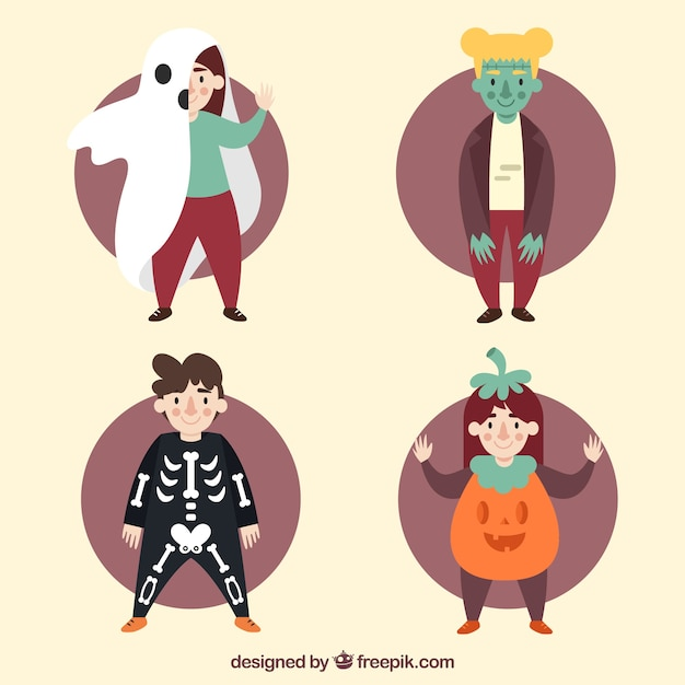 Modern pack of flat halloween costumes