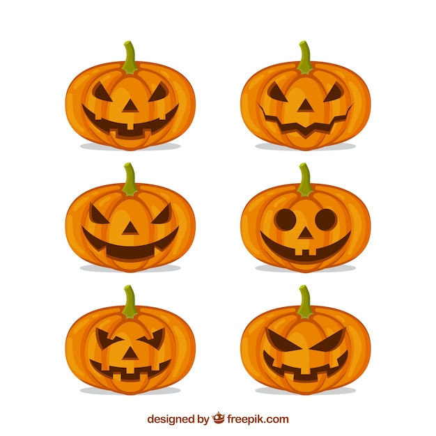 Modern pack of flat halloween pumpkins