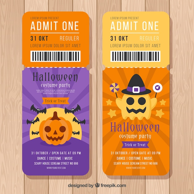 Modern pack of flat halloween tickets