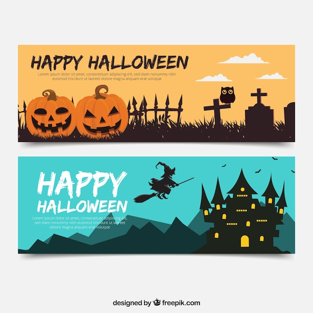 Modern pack of flat haloween banners