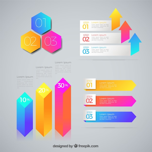 Modern pack of flat infographic elements
