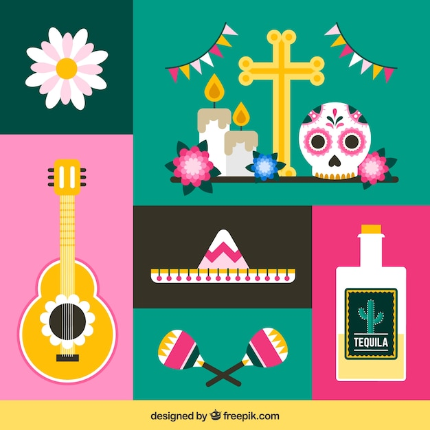 Modern pack of flat mexican elements
