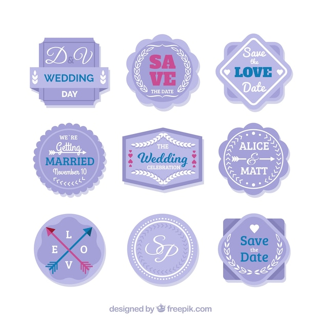 Modern pack of flat wedding badges
