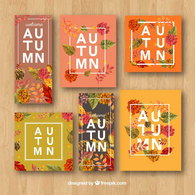 Modern pack of floral autumn cards Free Vector