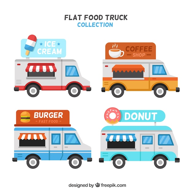 Modern pack of food trucks with flat design