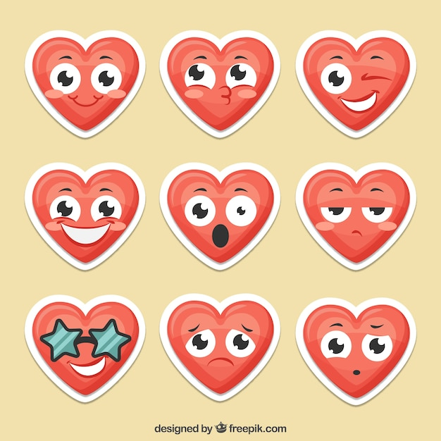 Modern pack of funny heart stickers