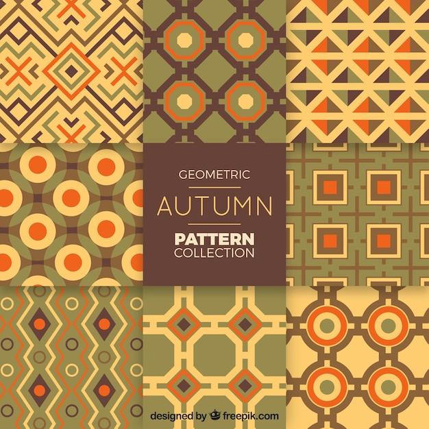 Modern pack of geometric autumn patterns