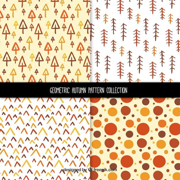 Modern pack of geometric utumn patterns