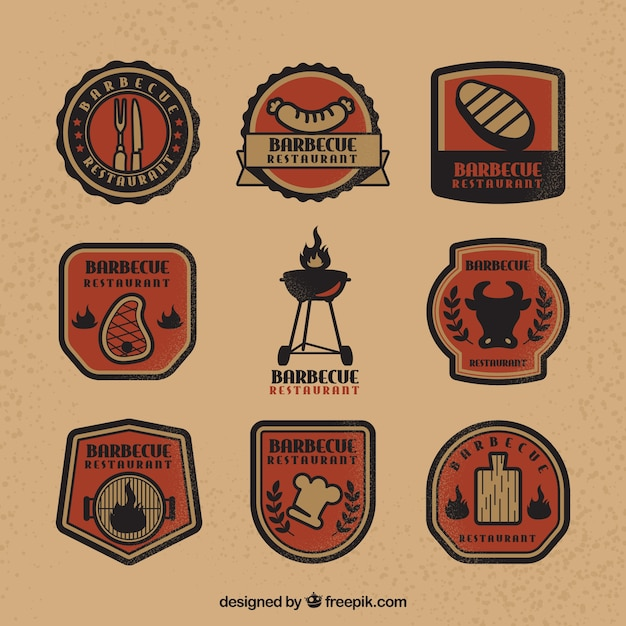 Modern pack of grill restaurant logos