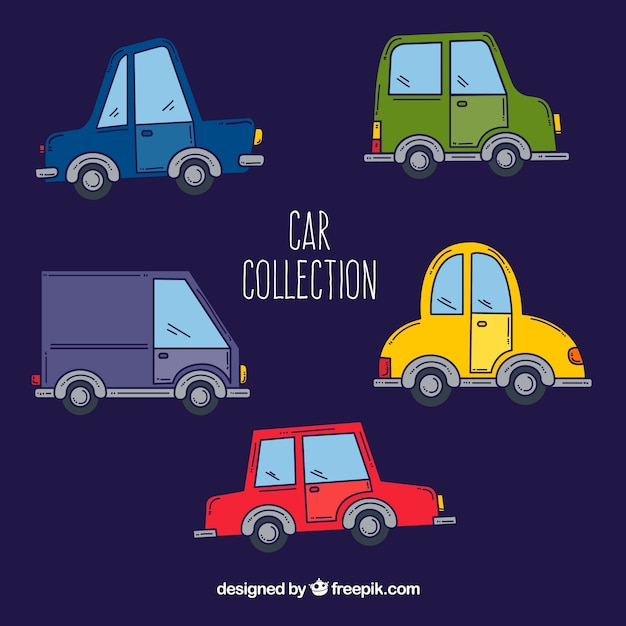 Modern pack of hand drawn cars