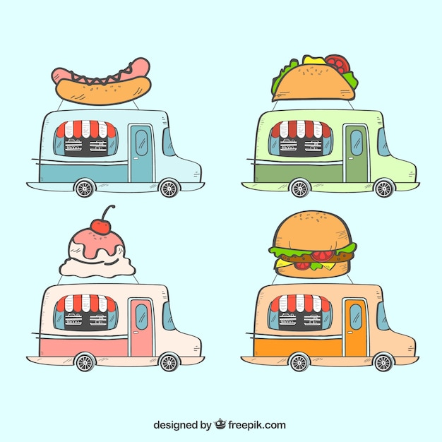 Modern pack of hand drawn food trucks