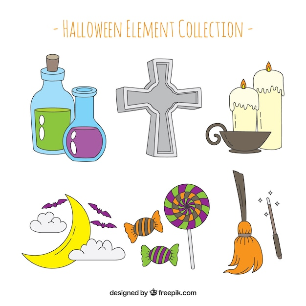 Modern pack of hand drawn halloween elements