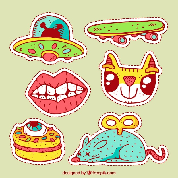 Modern pack of hand drawn stickers