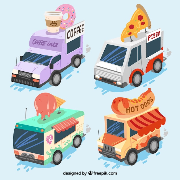 Modern pack of isometric food trucks