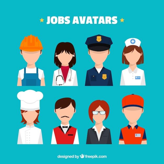 Modern pack of jobs avatars Free Vector