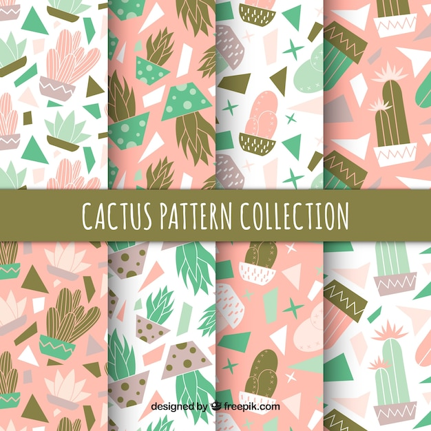 Modern pack of lovely cactus pattern