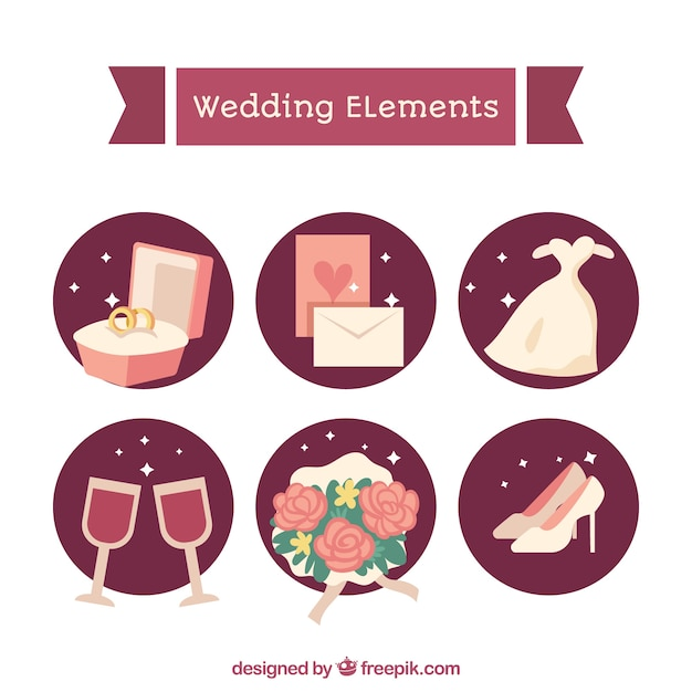 Modern pack of lovely wedding elements