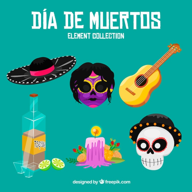Modern pack of mexican elements