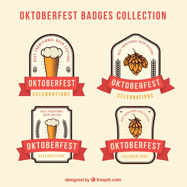 Modern pack of oktoberfest badges with ribbons