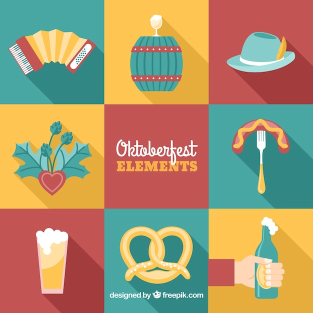 Modern pack of oktoberfest elements