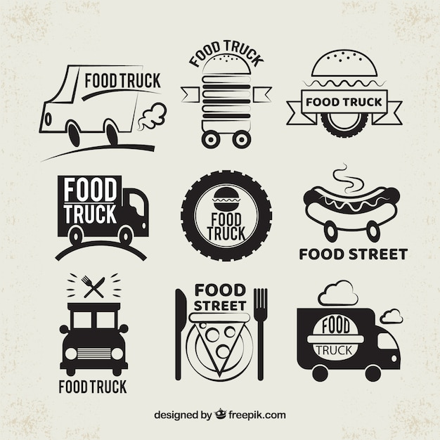 Modern pack of original food truck logos