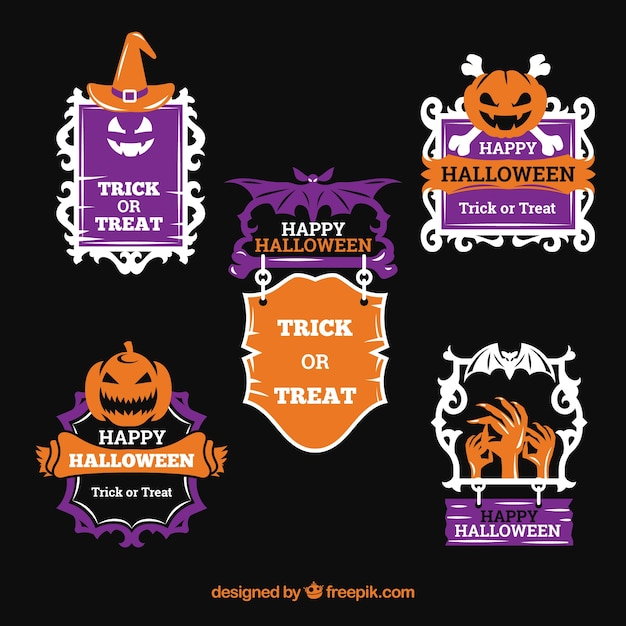 Modern pack of original halloween labels