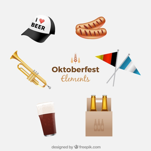 Modern pack of realistic oktoberfest elements