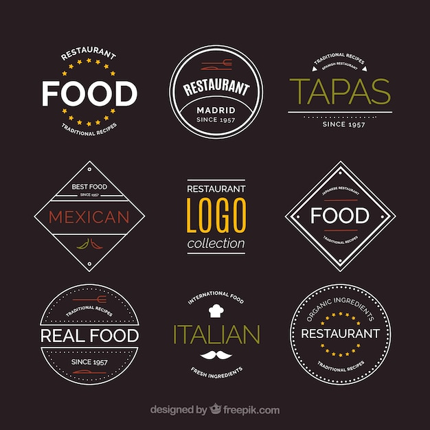 Modern pack of restaurant logotypes with vintage style