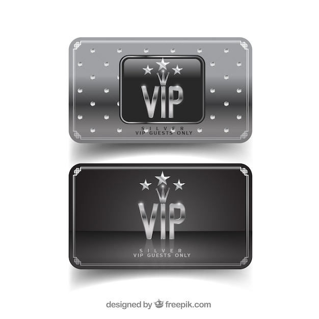 Modern pack of silver vip cards with stars