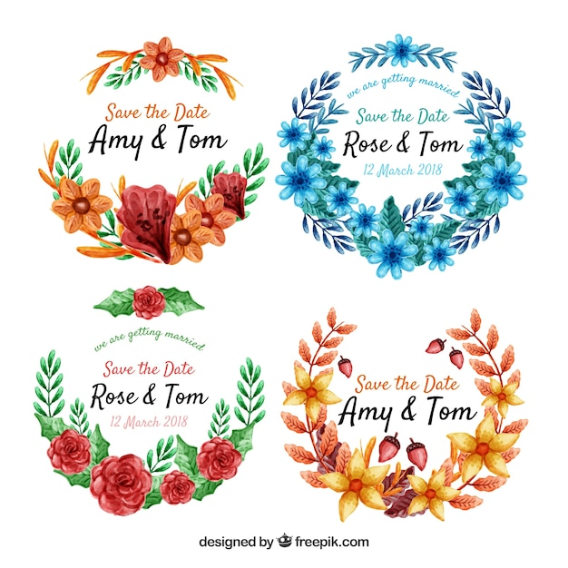 Modern pack of watercolor floral labels