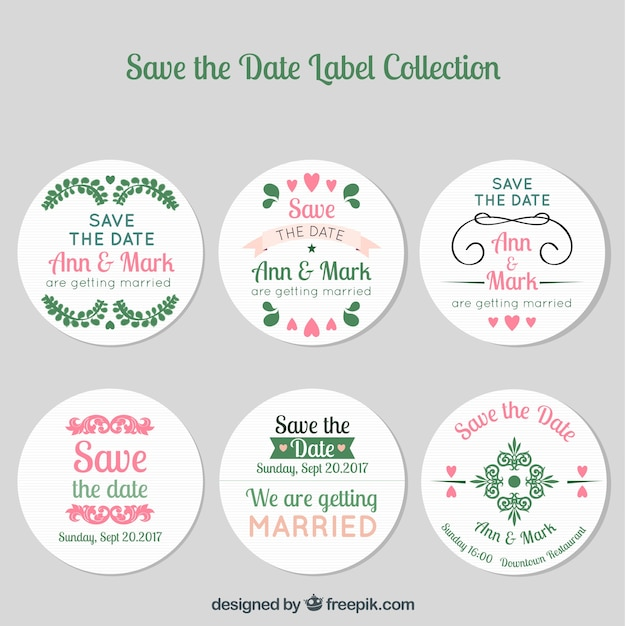 Modern pack of wedding labels with circular design