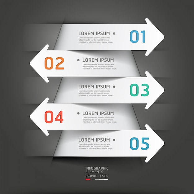 Modern paper cut arrow infographic. Premium Vector
