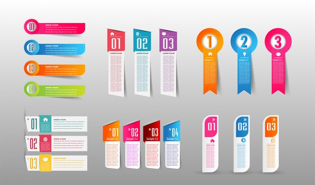Modern paper text box template, banner infographic Premium Vector