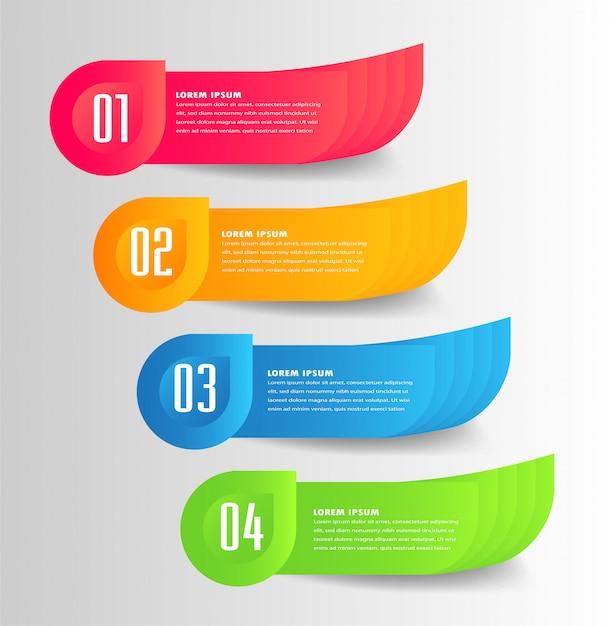 モダンな紙テキストボックステンプレート、バナーインフォグラフィック Premiumベクター