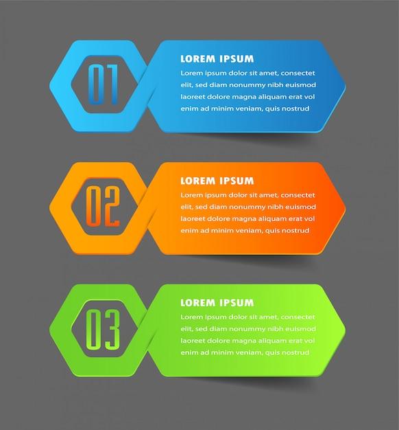 Modern paper text box template, banner infographic Premium Vector