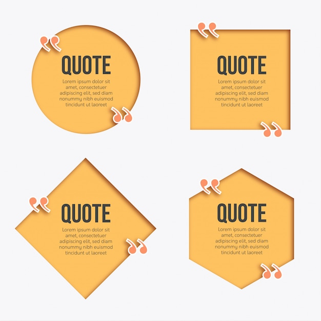 Modern papercut quote banner Free Vector