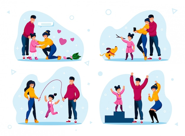 Modern parents lifestyle scenes flat set Premium Vector