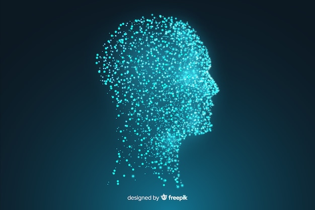 Modern particle face background Free Vector